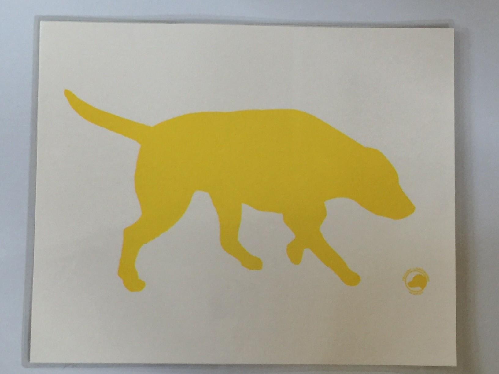 Laminated food bowl mat - yellow labrador