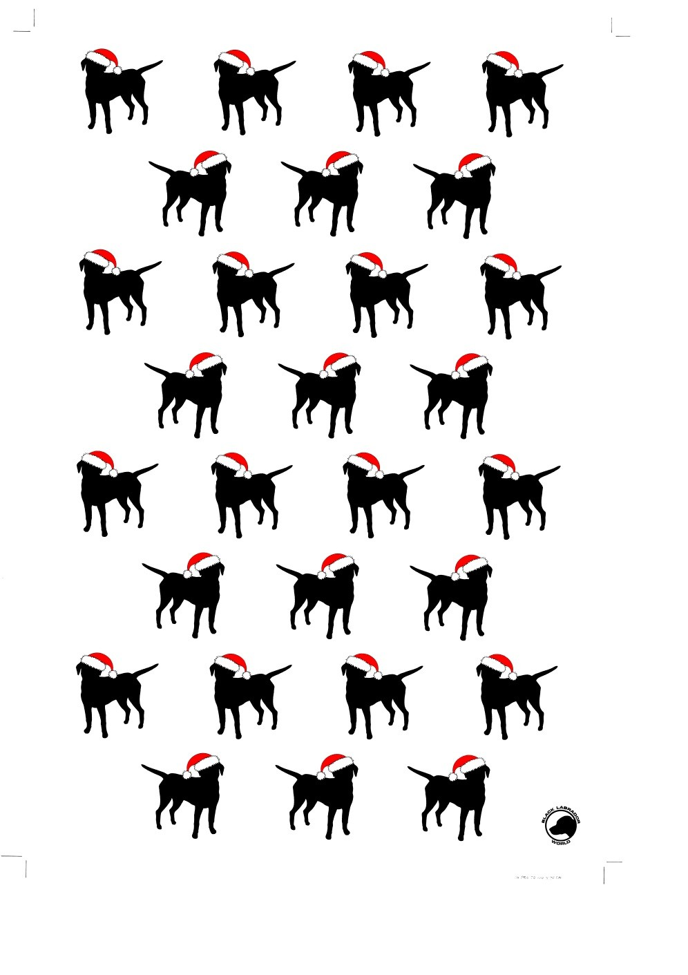 10 sheets of christmas wrapping paper showing silhouettes of a