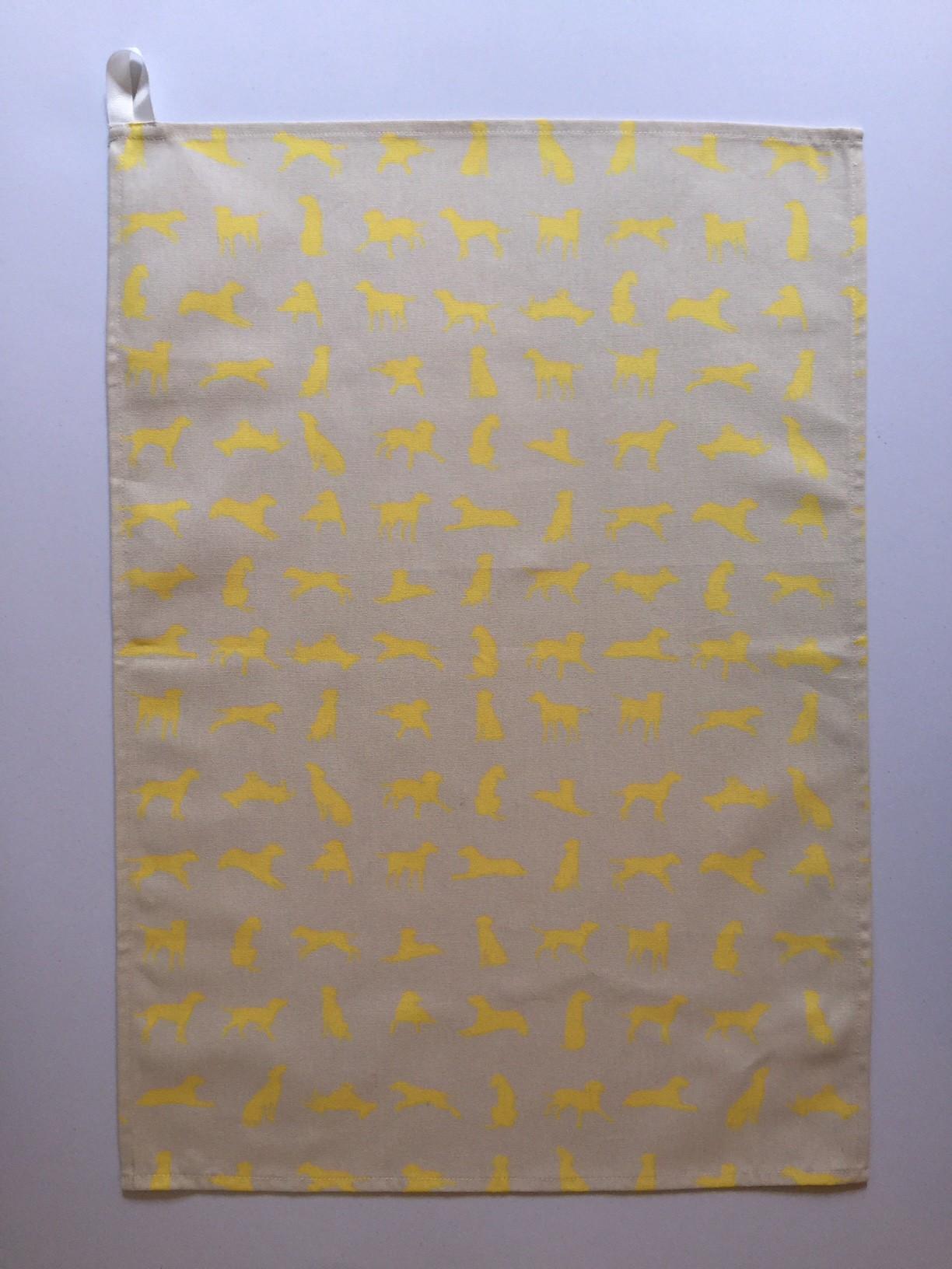 Yellow Labrador design Tea Towel