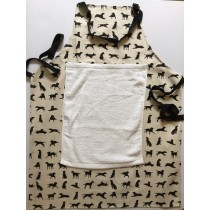 Black Labrador Apron with detachable towel