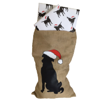 Hessian Christmas Sack with image of Labrador in Santa hat