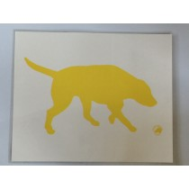 Laminated food bowl mat - yellow labrador