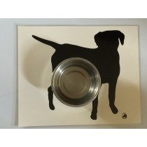 Laminated food bowl mat - black labrador