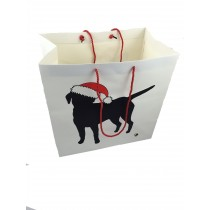Large carry bag with labrador silhouette in santa hat
