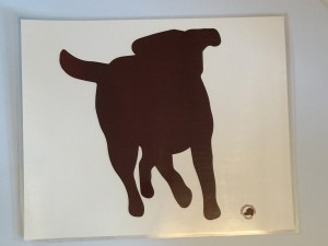 Laminated food bowl mat - chocolate labrador